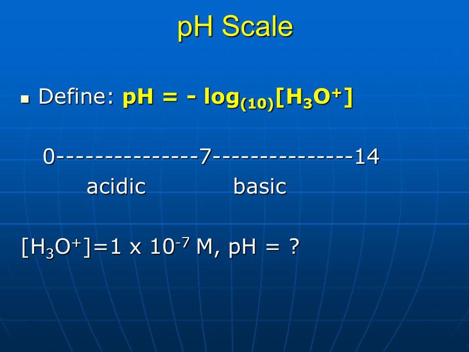 pH Scale Define: pH = - log(10)[H3O+]